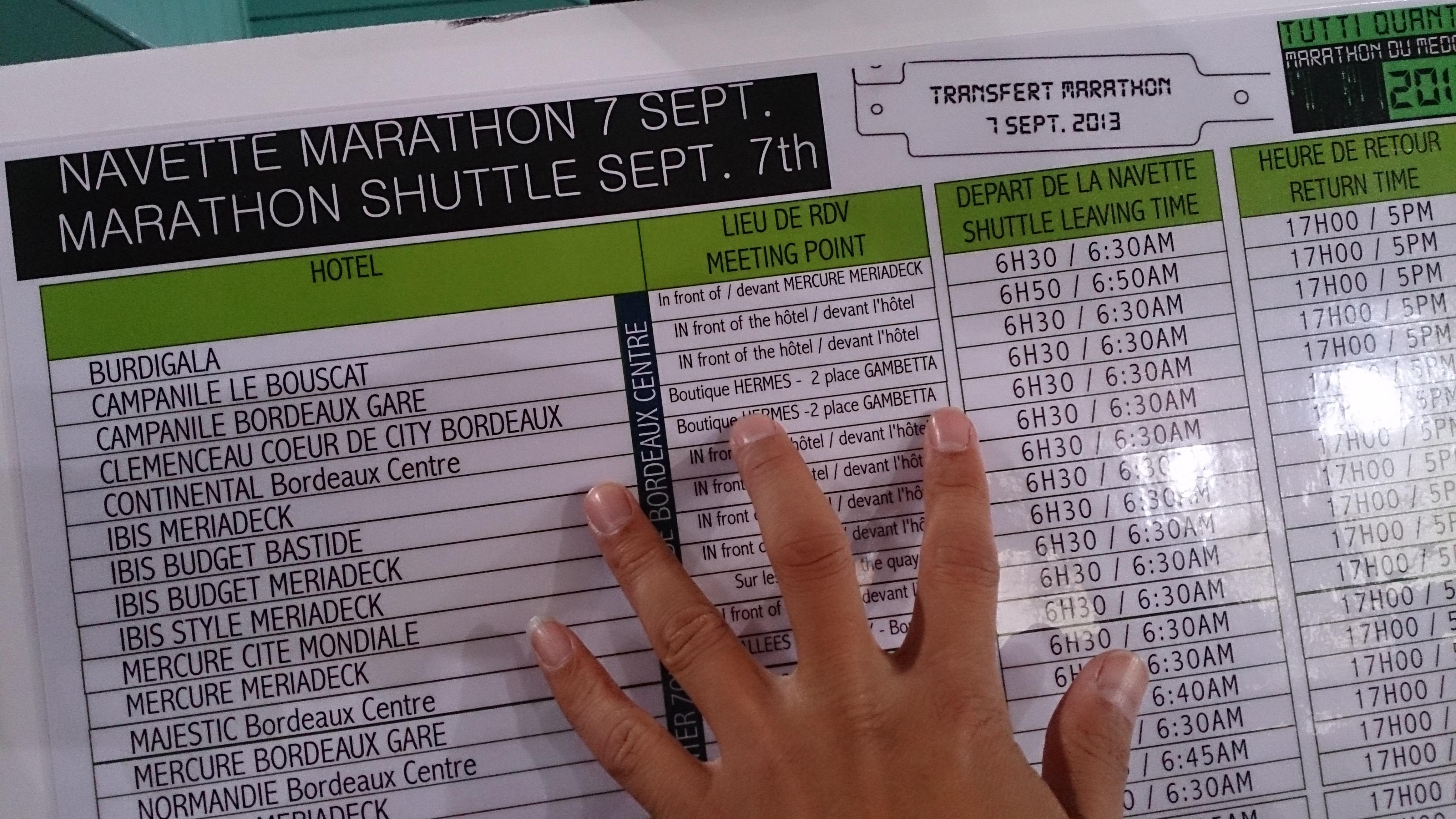 2013報到時,有接駁對應住宿的表單, 你看你住哪個旅館飯店, 也可以依你住的最近處.